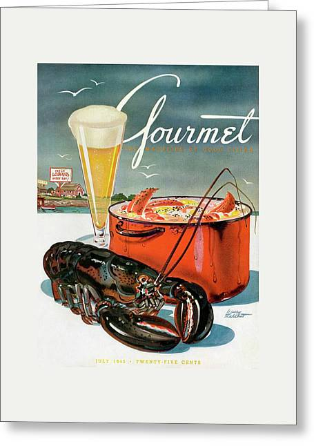 A Lobster And A Lobster Pot With Beer Greeting Card by Henry Stahlhut