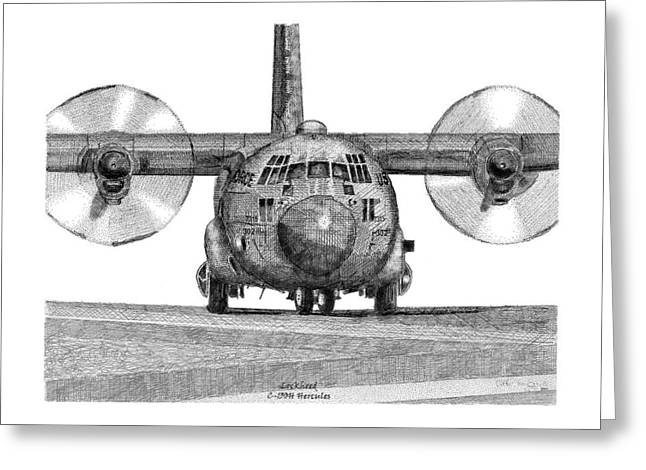 A Lockheed C-130h Hercules Greeting Card by Arthur Eggers