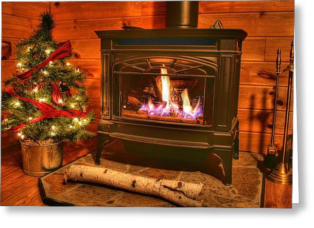 A Log Cabin Christmas Greeting Card by Heather Allen