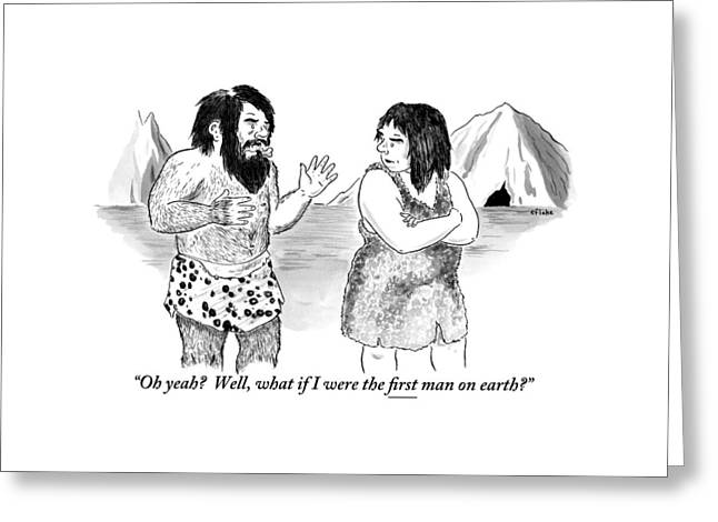 A Loincloth-wearing Caveman Speaks To An Greeting Card by Emily Flake