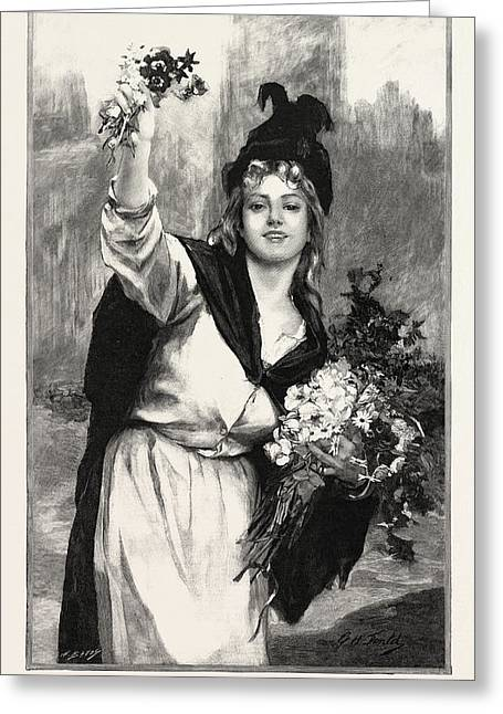 A London Flower-girl, Uk, In The Salon Des Champs Elysees Greeting Card
