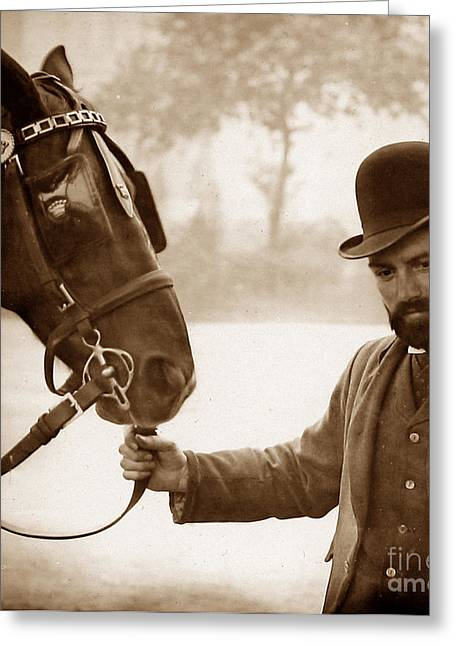 A London Hansom Cab Driver England Greeting Card by The Keasbury-Gordon Photograph Archive