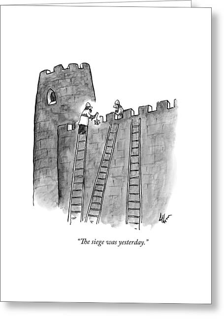 A Lone Medieval Soldier Climbs The Ladder Greeting Card by Frank Cotham