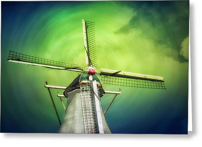 A Lone Windmill Stands Greeting Card by Sheila Haddad