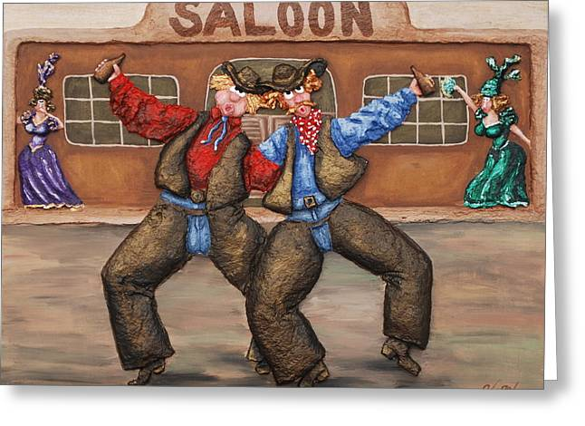 A Long Night In The Saddle Greeting Card by Alison  Galvan