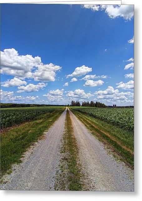 A Long Rural Road Greeting Card by Bill Tiepelman