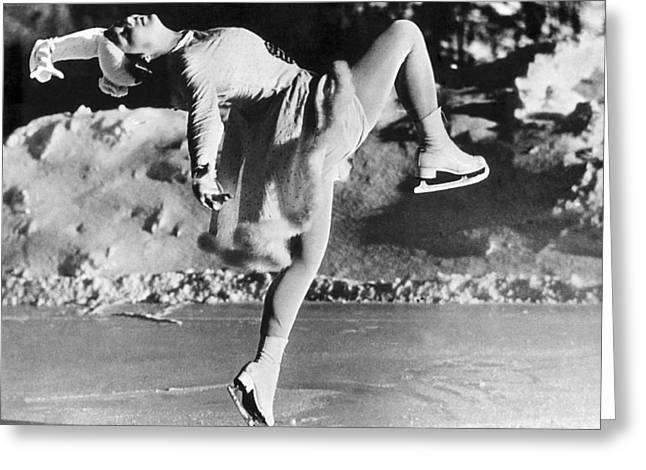 A Lovely Ballet Pose On Ice Skates Greeting Card by Underwood Archives