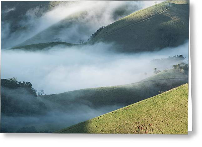 A Low-hanging Mist In The Early Morning Greeting Card