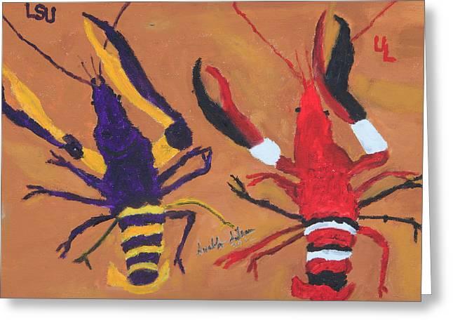A Lsu Crawfish And A Ul Crawfish Greeting Card by Swabby Soileau