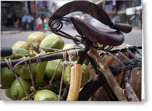 A Machete And A Group Of Coconuts Sit Greeting Card by David H. Wells