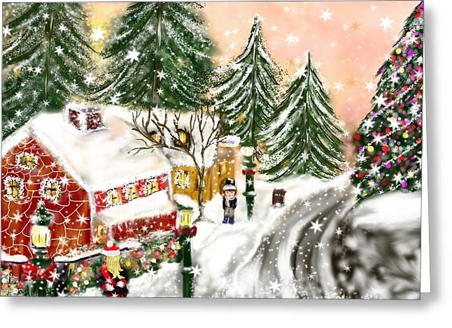 Greeting Card featuring the painting A Magical Frost by Lori  Lovetere
