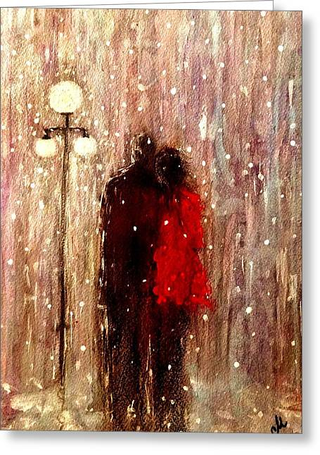Me You And A Magical Winter Night.. Greeting Card