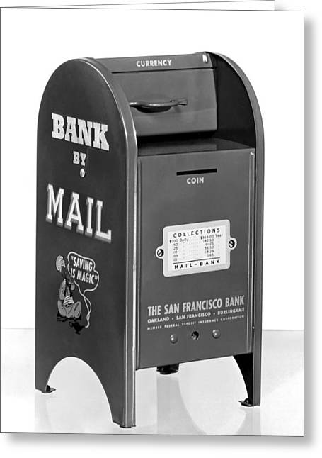 A Mail Box Bank Greeting Card by Underwood Archives