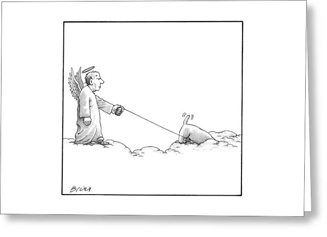 A Male Angel Walks His Dog On A Leash Across Some Greeting Card