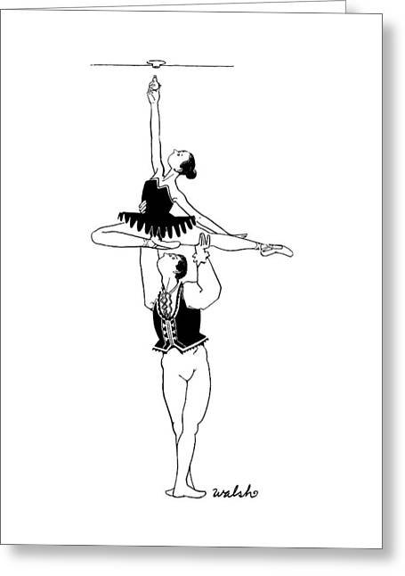 A Male Ballet Dancer Lifts A Ballerina Greeting Card