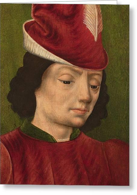 A Male Figure Perhaps Saint Sebastian A Greeting Card by Savoyard School