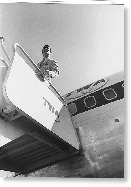 A Male Model Disembarking A Twa Boeing 707 Plane Greeting Card by Leonard Nones