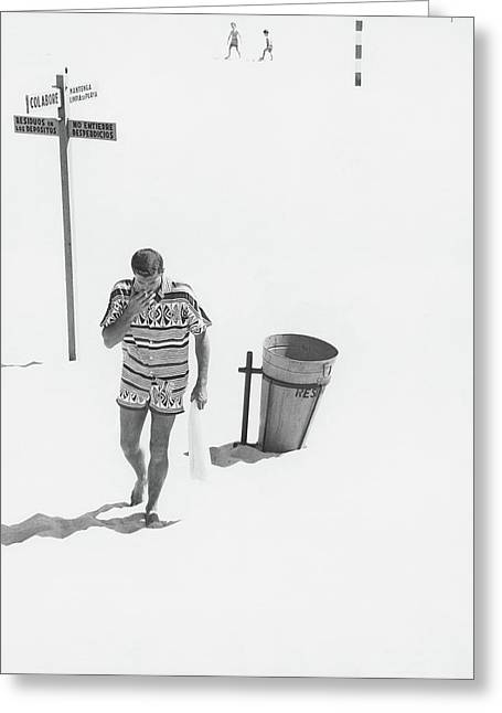 A Male Model Smoking A Cigarette On The Playa Greeting Card by Chadwick Hall