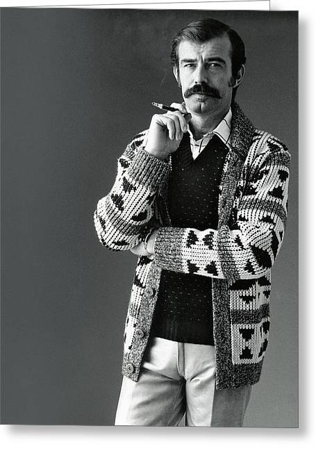 A Male Model Wearing An Aztec-motif Cardigan Greeting Card by Bill Cahill