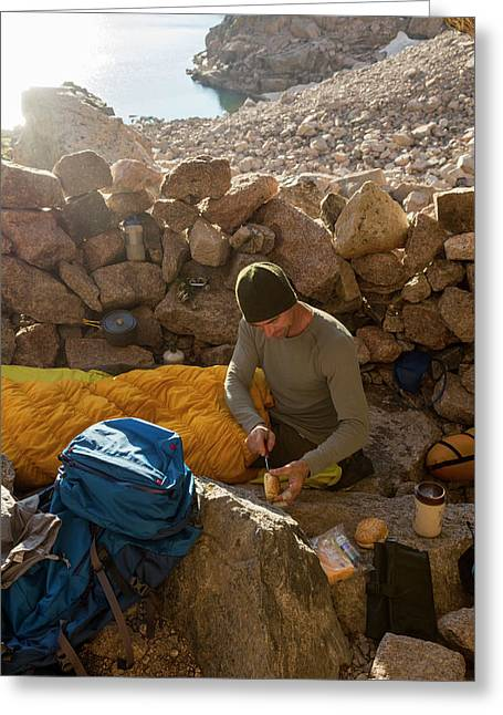 A Male Mountain Climber Getting Ready Greeting Card