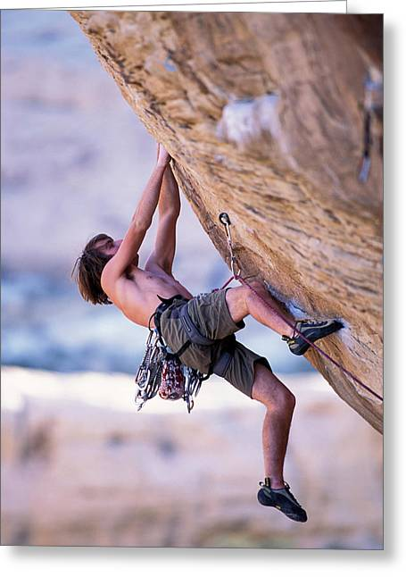 A Male Rock Climber Climbing Greeting Card