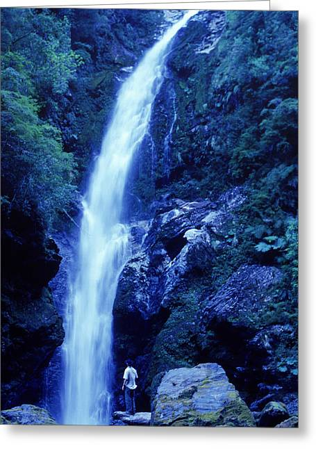 A Man Admires A Waterfall, Patagonia Greeting Card