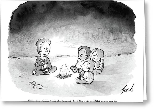A Man And 3 Children Sit Around A Fire Greeting Card
