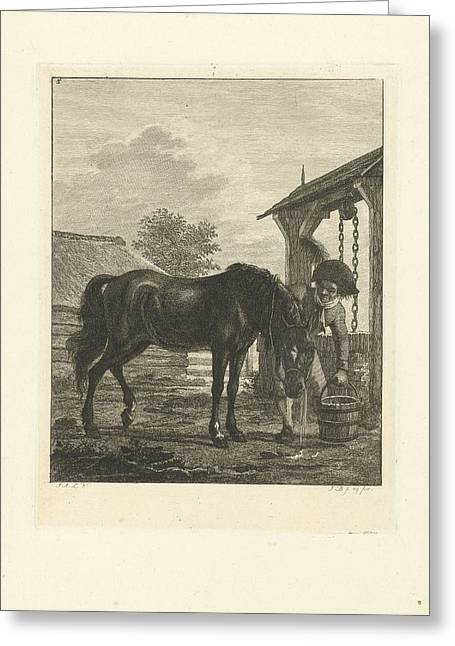A Man And A Horse Near A Well, Print Maker Joannes Bemme Greeting Card by Joannes Bemme And Jan Anthonie Langendijk Dzn