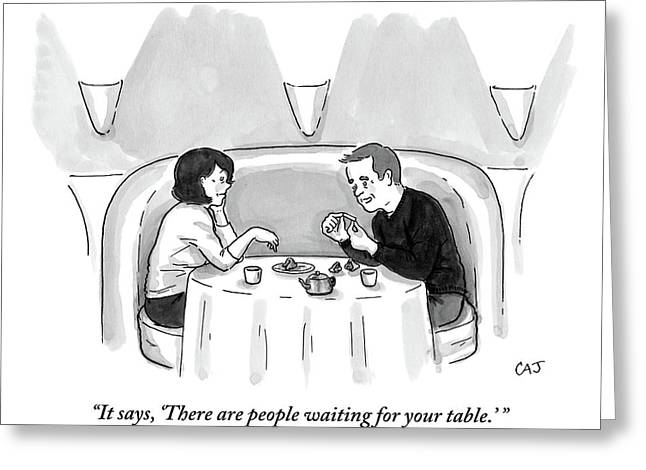 A Man And A Woman Are At A Chinese Restaurant Greeting Card