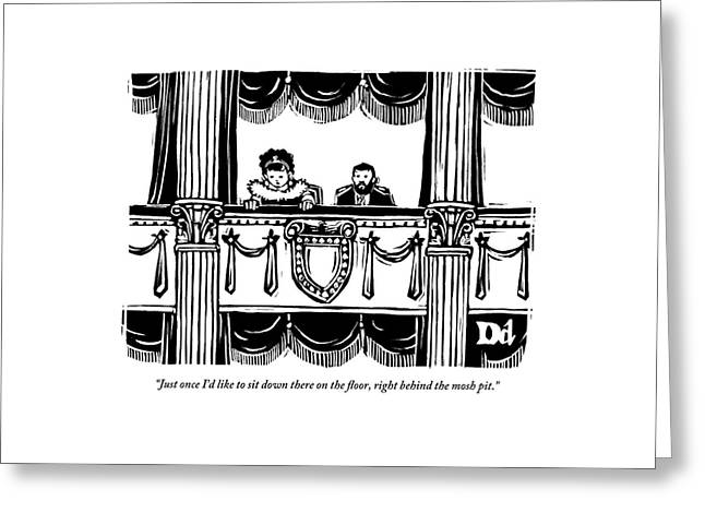 A Man And A Woman Are Sitting In The Balcony Greeting Card by Drew Dernavich