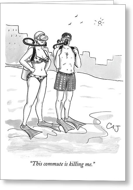 A Man And A Woman In Swimsuits And Diving Gear Greeting Card