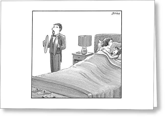 A Man And A Woman Lie In Bed. Another Man Stands Greeting Card