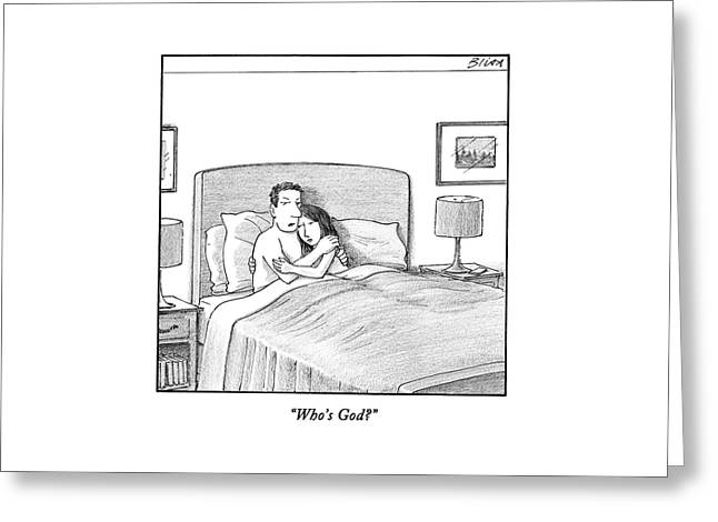 A Man And A Woman Lie In Bed Together. The Man Greeting Card