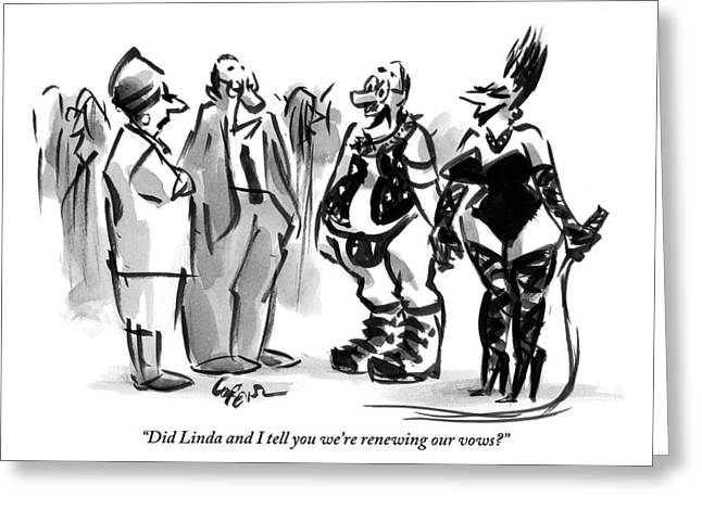 A Man And A Women Are Seen Dressed In S&m Gear Greeting Card by Lee Lorenz