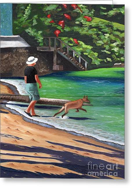 Greeting Card featuring the painting A Man And His Dog by Laura Forde