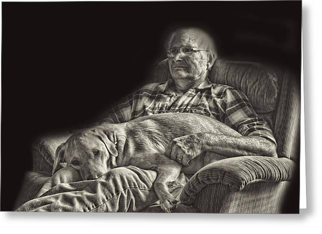 A Man And His Dog Greeting Card by Linda Phelps
