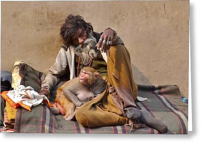 A Man And His Monkey - Varanasi India Greeting Card