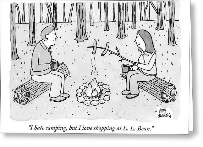 A Man And Woman Are Camping And The Woman Roasts Greeting Card