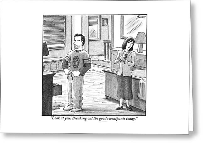 A Man And Woman Are Getting Dressed In A Room Greeting Card