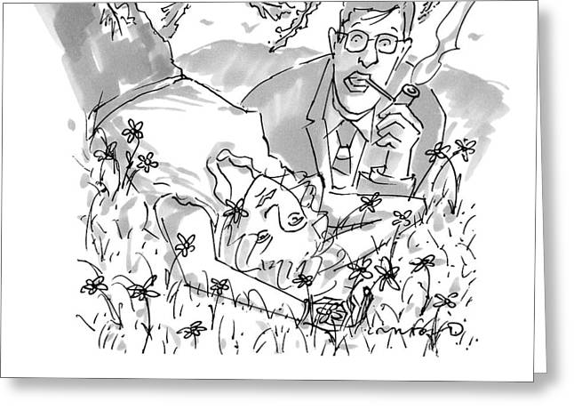A Man And Woman Lay In The Grass Greeting Card