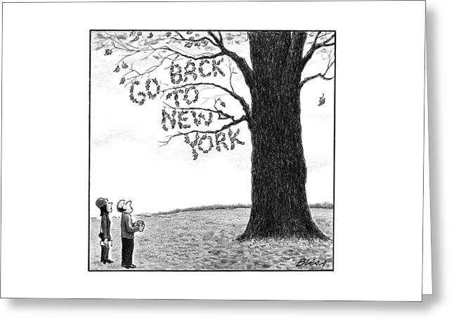 A Man And Woman Look At A Single Tree In A Field Greeting Card