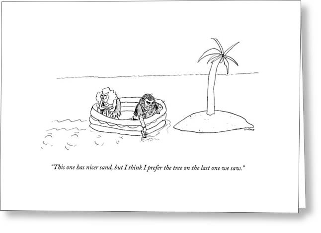 A Man And Woman Paddle A Raft Toward A Small Greeting Card by Edward Steed