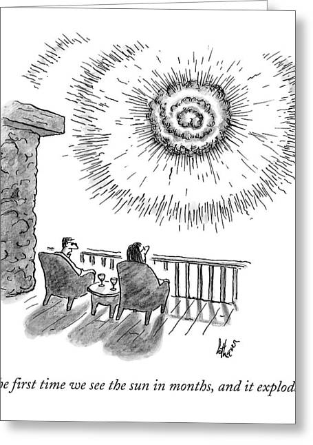 A Man And Woman Sit In Front Of An Exploding Sun Greeting Card