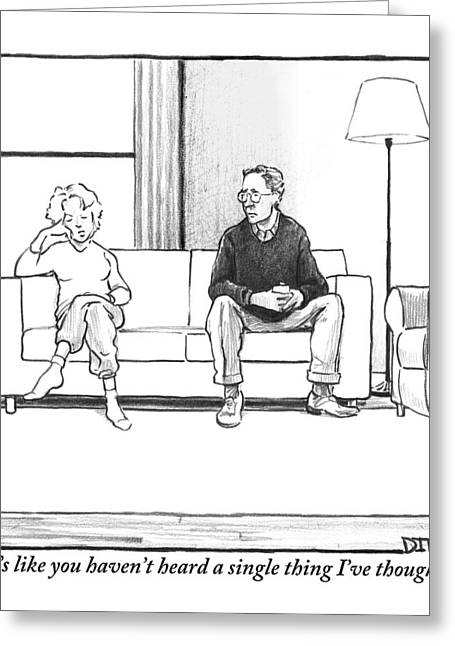 A Man And Woman Sit Next To Each Other On A Couch Greeting Card