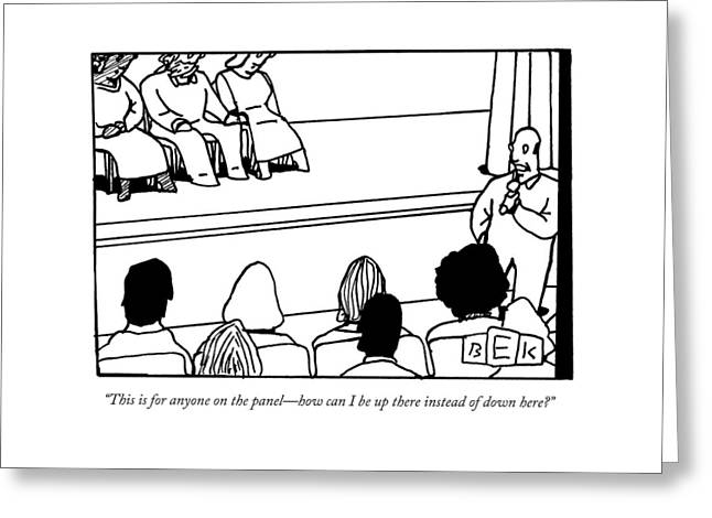 A Man Asking A Question At A Panel Lecture Greeting Card