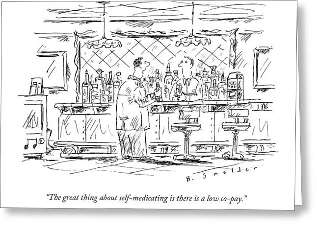 A Man At A Bar Talking To The Bartender Greeting Card