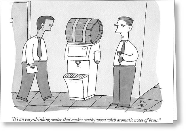 A Man By A Water Cooler That Has Been Replaced Greeting Card