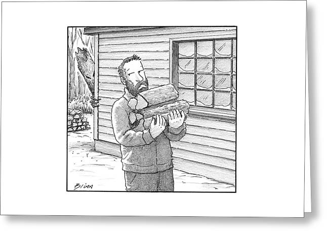 A Man Carries Firewood Back To His Cabin Greeting Card