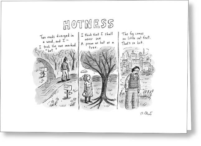 A Man Comes To A Diverging Path. A Woman Greeting Card by Roz Chast