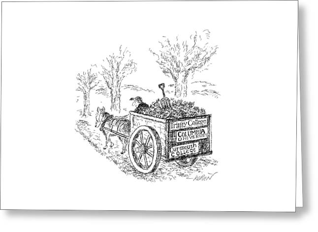 A Man Drives A Horse-drawn Cart With Bumper Greeting Card by Edward Koren